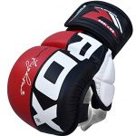 RDX Maya Hide Leather Grappling MMA Gloves Cage UFC Fighting Sparring Glove Training T6, Large, Red