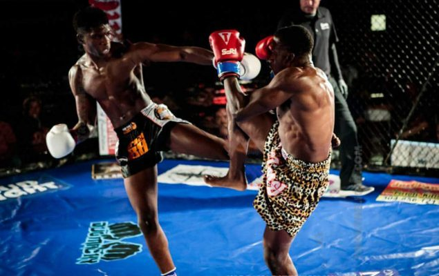 Brima Kamara faces Keeman Diop in an amateur championship muay Thai bout in Virginia